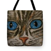 Blue Eyed Tiger Cat Tote Bag