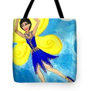 Blue Fairy Detail Of Duck Meets Fairy Ballet Class Tote Bag