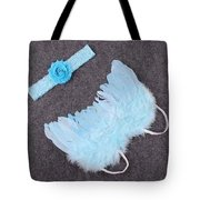 Blue Feather Angel Wings And Headband Tote Bag