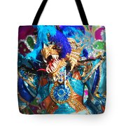 Blue Feather Carnival Costume And Colorful Background Horizontal Tote Bag