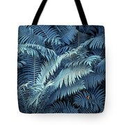 Blue Fern Leaves Abstract. Nature In Alien Skin Tote Bag