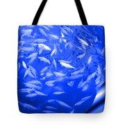 Blue Fish Abstract Tote Bag