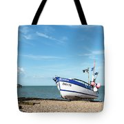 Blue Fishing Boat Tote Bag