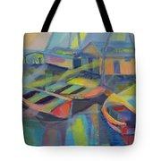 Blue Fishing Village Tote Bag