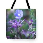 Blue Flax Wildflower With Purple Allium In Foreground Tote Bag