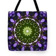 Blue Flowers Kaleidoscope Tote Bag