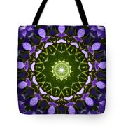 Blue Flowers Kaleidoscope Tote Bag