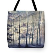 Blue Forest In Winter Tote Bag
