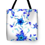 Blue Fractal Flowers Tote Bag