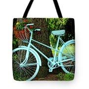 Blue Garden Bicycle Tote Bag