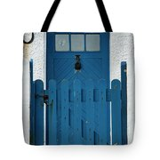 Blue Gate And Door On White House Tote Bag