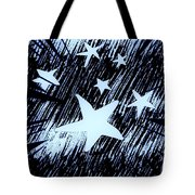 Blue Glow Starry Abstract Tote Bag