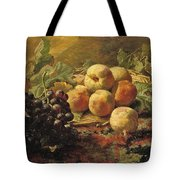 Blue Grapes And Peaches In A Wicker Basket Tote Bag