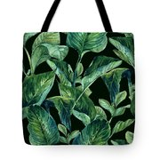 Blue Green Watercolor Tropical Leaves Tote Bag