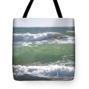 Blue Green Waves Tote Bag