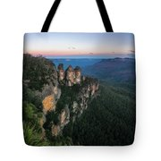 Blue Haze At Sunrise At Ecco Point In Blue Mountains Tote Bag