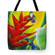 Blue-headed Hummingbirds And Heliconia Tote Bag