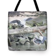 Blue Heron Fight Tote Bag