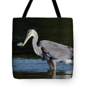 Blue Heron - Fish By The Tail Tote Bag