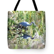 Blue Heron Fishing In A Pond In Bright Daylight Tote Bag