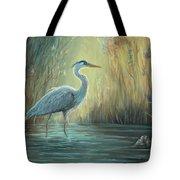 Blue Heron Fishing Tote Bag