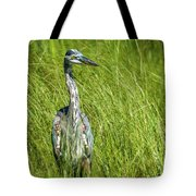 Blue Heron In A Marsh Tote Bag