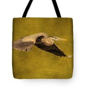 Blue Heron On Gold Tote Bag