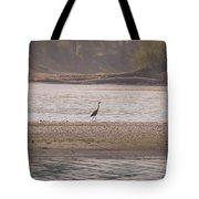 Blue Heron On The Yellowstone Tote Bag