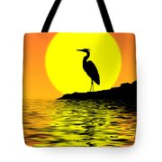 Blue Heron Sunset Tote Bag