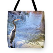 Blue Heron With Shadow Tote Bag