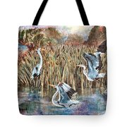 Blue Herons And Cats Tote Bag