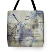 Great Blue Herons Chilling Tote Bag