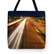 Blue Hour Freeway Light Trails Tote Bag