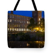 Blue Hour Over The Cocheco Mills Dover New Hampshire Tote Bag