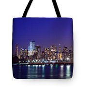 Blue Hour Panorama New York World Trade Center With Freedom Tower From Liberty State Park Tote Bag