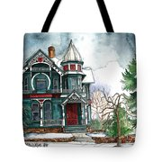 Blue House On A Grey Day Tote Bag