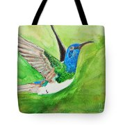 Blue Humming Bird Tote Bag