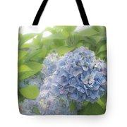Blue Hydrangea At Rainy Garden In June, Japan Tote Bag