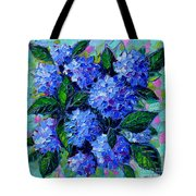 Blue Hydrangeas - Abstract Floral Composition Tote Bag