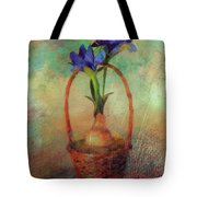 Blue Iris In A Basket Tote Bag