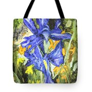 Blue Iris Painting Tote Bag