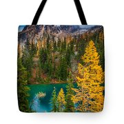 Blue Lake And Early Winter Spires Tote Bag