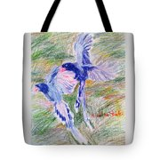 Blue Magpies Tote Bag
