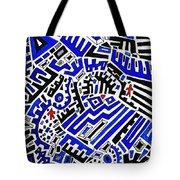 Blue Maze Tote Bag