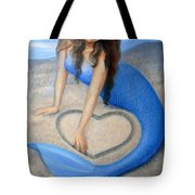 Blue Mermaid's Heart Tote Bag by Sue Halstenberg