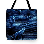 Blue Moon Wolf Pack Tote Bag