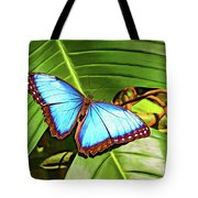 Blue Morpho Butterfly 2 - Paint Tote Bag