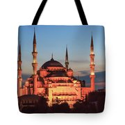 Blue Mosque At Dusk Tote Bag