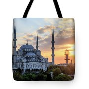 Blue Mosque At Sunset Tote Bag