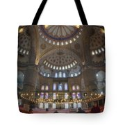 Blue Mosque Interior Tote Bag by Joan Carroll
